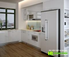 Tủ bếp acrylic màu trắng sang trọng